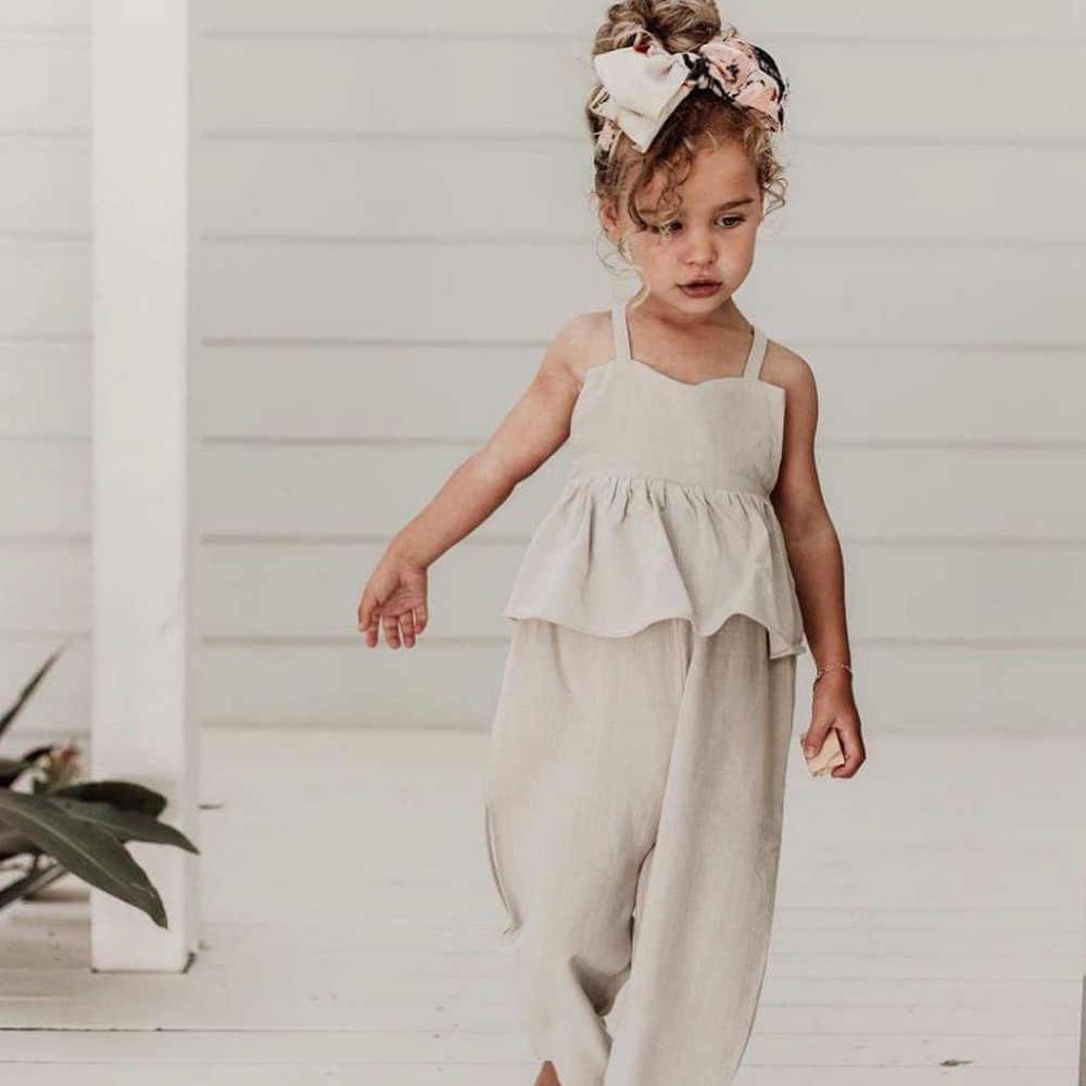 2020 yenidoğan Toddler bebek kız yaz Romper tulum kolsuz fırfır pamuk tulum rahat kıyafet bebek kız giysileri 0-3Y