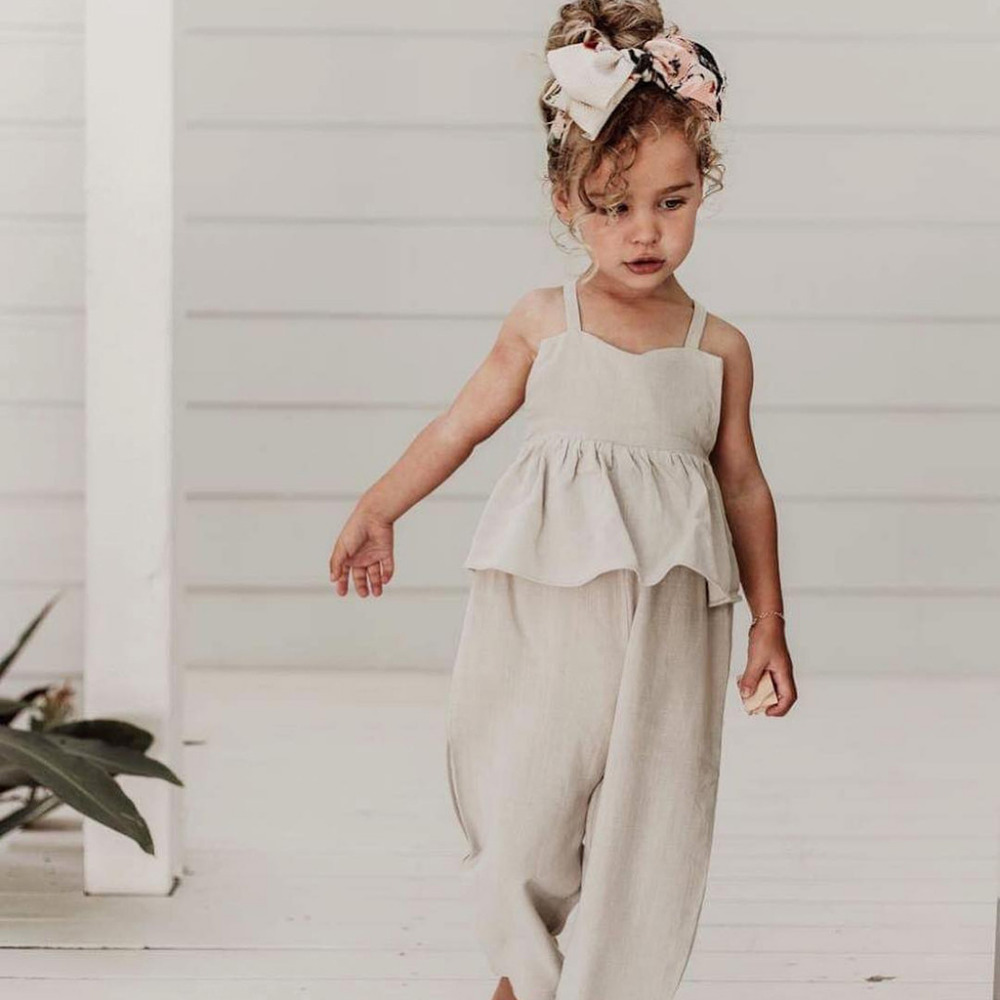 Kids Baby Girls Overalls Sleeveless Backless   Romper   Toddler Girl Jumpsuit Wide Leg Pants Trousers Girls Summer Clothes
