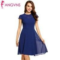 ANGVNS Women Chiffon Dress 2018 Spring Summer Keyhole Back Fit And Flare Chiffon Dress Spring