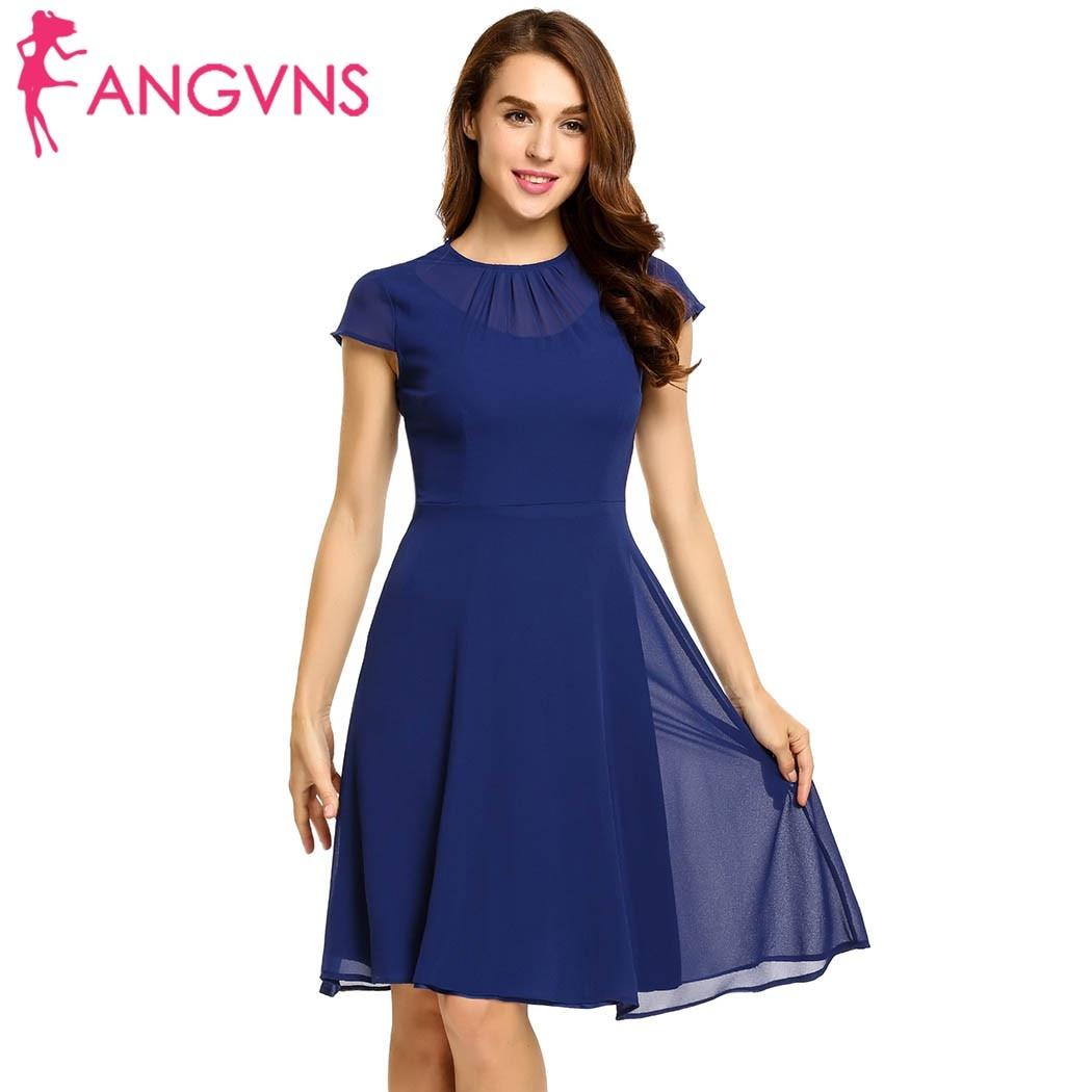 ANGVNS Women Chiffon Dress 2018 Spring summer Keyhole Back Fit and Flare Chiffon Dress Spring Femme Robe Feminino Vestidos