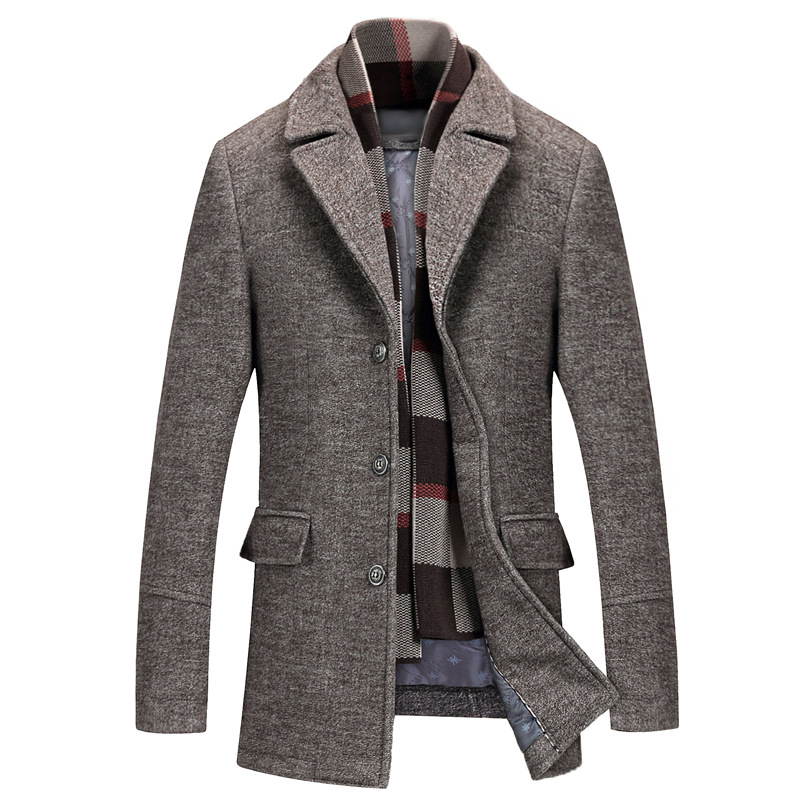 Men's Casual Wool Trench Coat Fashion Business Long Thicken Slim Overcoat Jacket Male Peacoat(China)