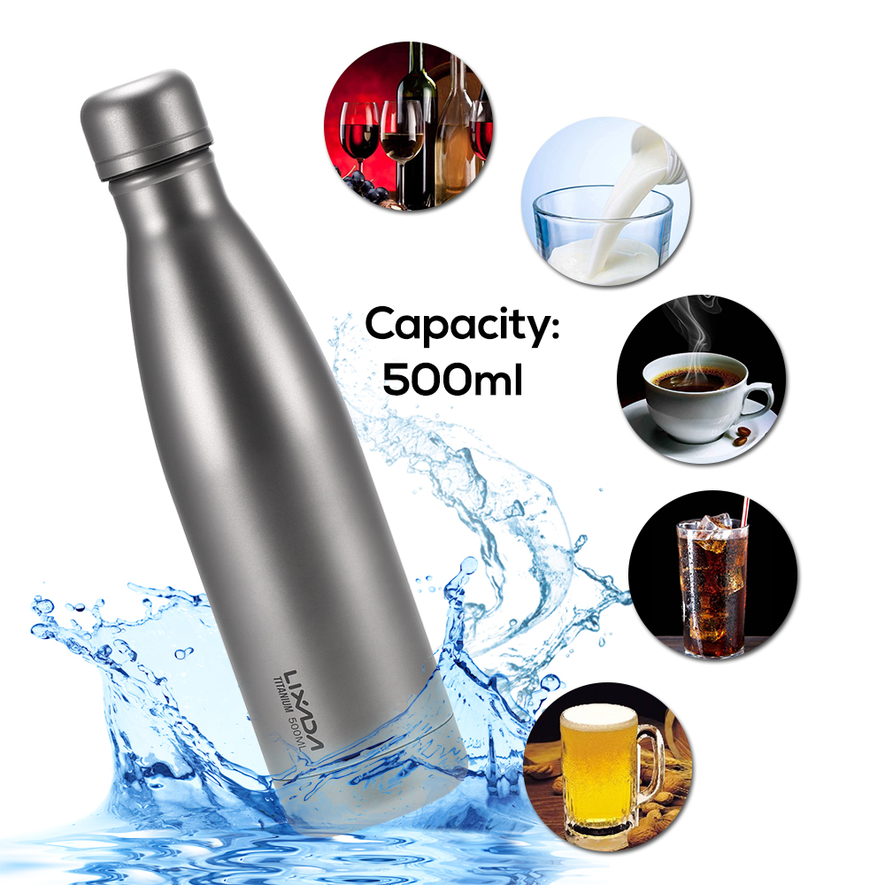 Lixada 500ml Titanium Water Bottle Double Walled Vacuum Insulated Sports Water Bottle Camping Backpacking Hiking Cycling 500ml double wall vacuum insulated water bottle with cover
