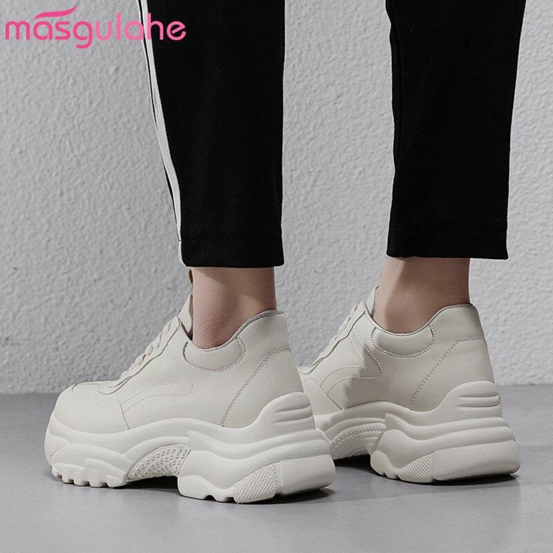 Masgulahe Véritable En Lacets Appartements Beige 34 Taille 40 2019 Grande Baskets Bout Rond À Chaussures Décontracté Mode Femmes Cuir RqrRB