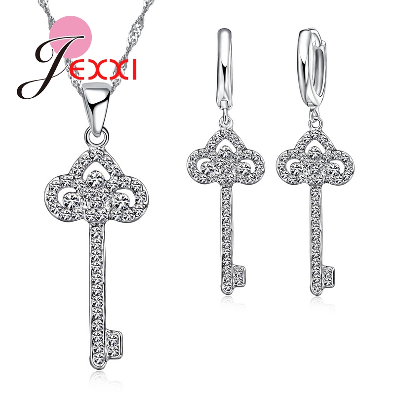 Pendant Necklace Cubic-Zirconia-Key Earrings-Sets Romantic Bride Wedding Drop Bijoux