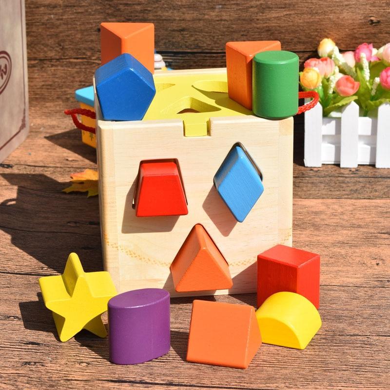 Jouet bébé jouets en bois Monterssori apprentissage forme éducative correspondant blocs de construction Intelligence jouet boîte 3 ans