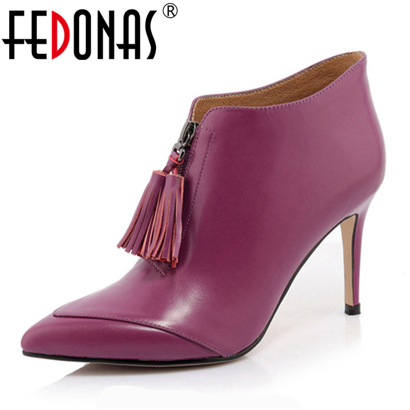 FEDONAS Brand Ankle Boots 2019 Newest Autumn Winter Tassels Party Wedding Prom Pumps Ladies High Heels