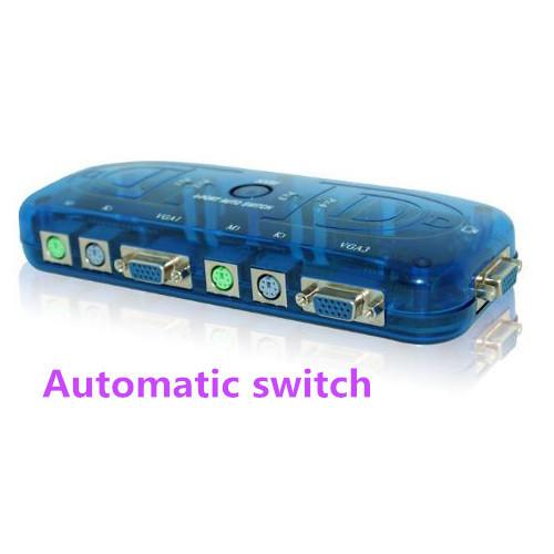 Acciones PS/2 KVM SWITCH de 4 puertos PS2 KVM Switch Box para 4 ComputersMonitor Ratón Teclado de Control Automático de Envío gratis