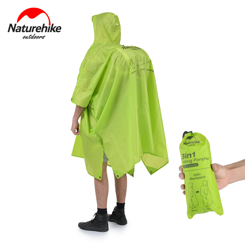 Naturehike 3 in 1 Rain Jackets Outdoor Camping Hiking Cycling Raincoat Poncho MINI Tarp Sun Shade Tent Footprint Camp Mat