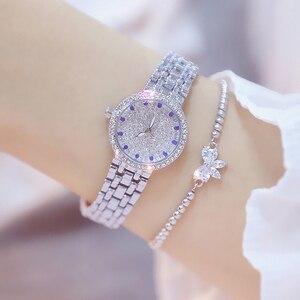 Image 3 - Kadın saatler ünlü lüks markalar elmas gümüş kadın kol saati küçük arama bayanlar bilek saatler Relogio Feminino 2020