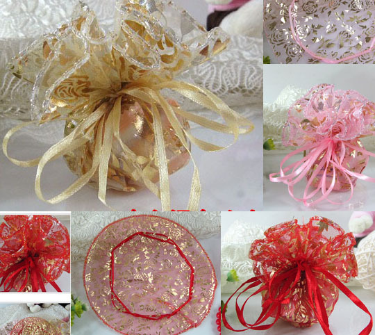 free shipping 60 pcslot wedding favors candy box sweet bag gift gold tooling tulle