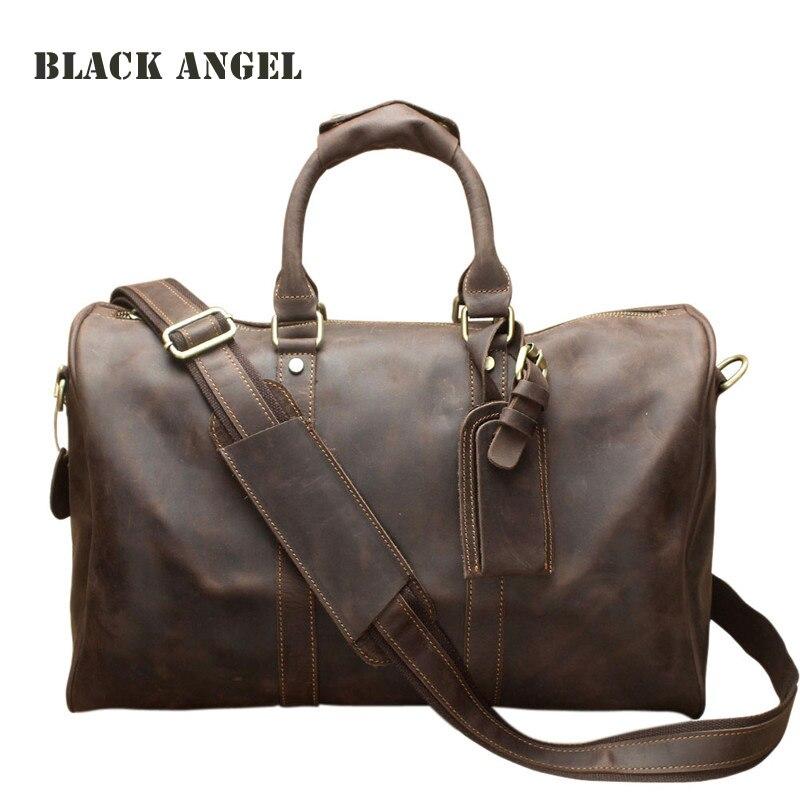 BLACK ANGEL Vintage Genuine Leather Travel Bags Men Crazy Horse Leather Shoulder Travel Duffle Large Weekend Bag