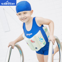 SABOLAY Professional Boys Buoyant Swimming Suits Cute Printed Children Swimwear Detachable One-Piece Training Floating Bodysuits