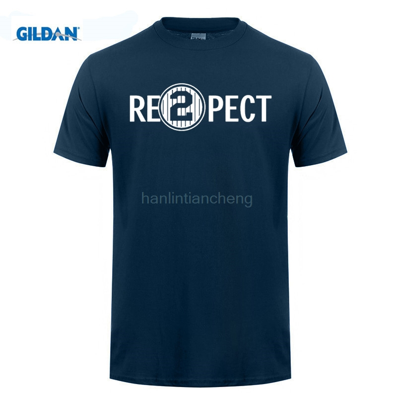 GILDAN mens t shirts Quality Print New Summer Style Cotton Respect 2 Re2pect Derek Jeter Captain Ny Yankees ...