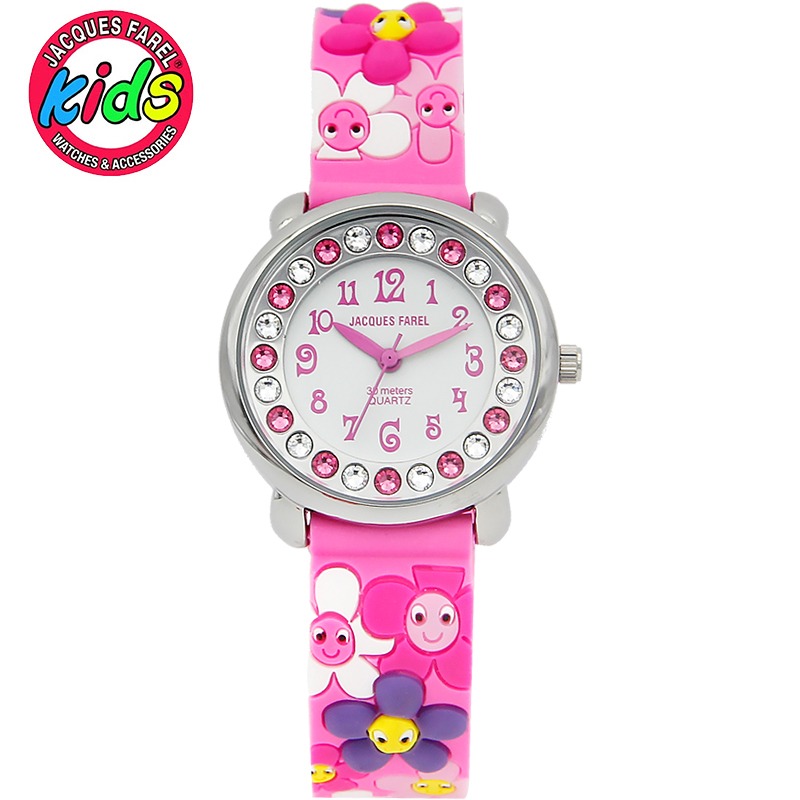 JACQUES FAREL font b Kids b font Children watches fashion cute simple flower waterproof Quartz Wristwatches