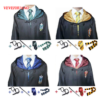 VEVEFHUANG Costume Robe Cloak With Tie Scarf Wand Glasses Ravenclaw Gryffindor Hufflepuff Slytherin For Harri Potter