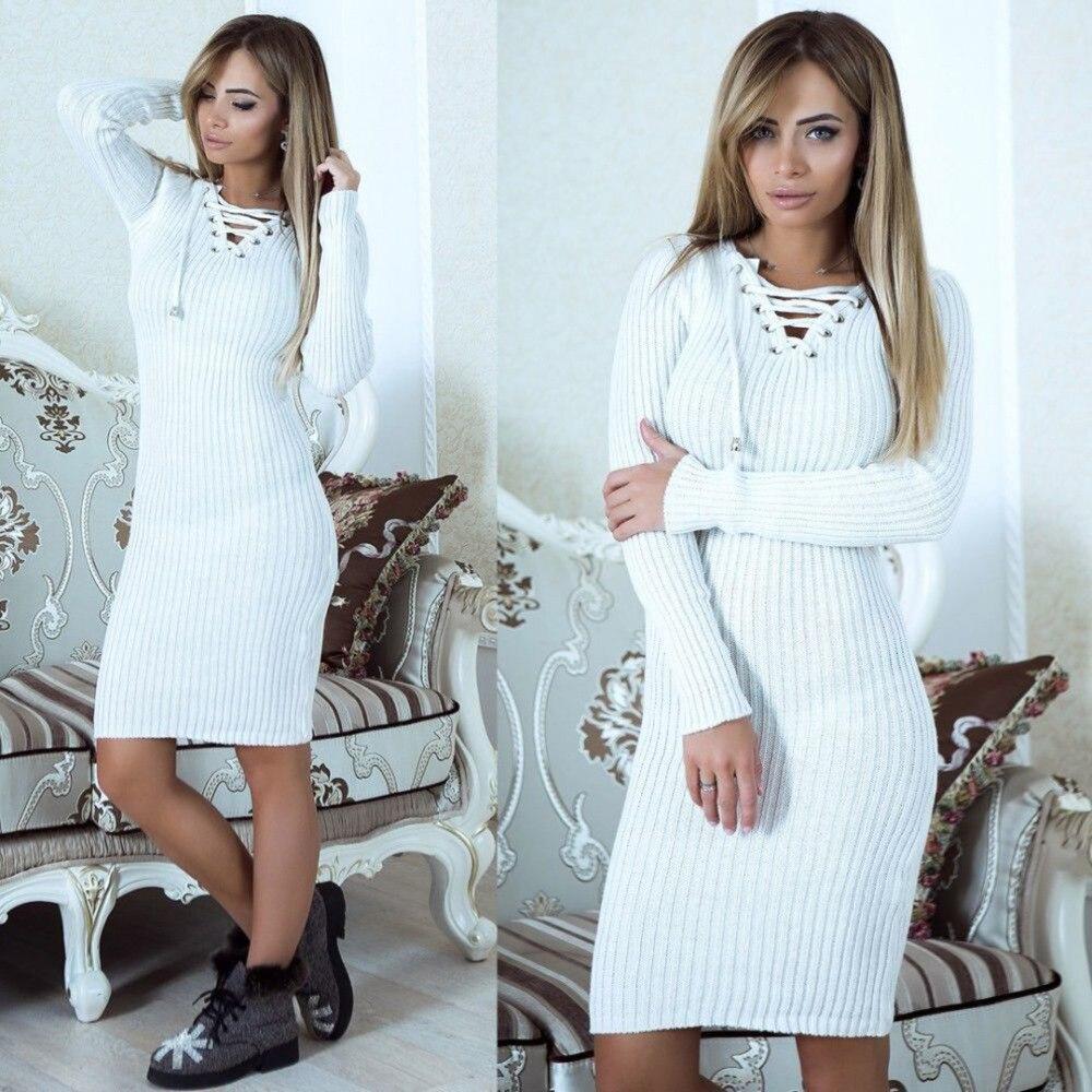 Женское трикотажное облегающее платье с v-образным вырезом и длинным рукавом на осень и зиму, мини-платье, женские теплые вечерние платья, же...