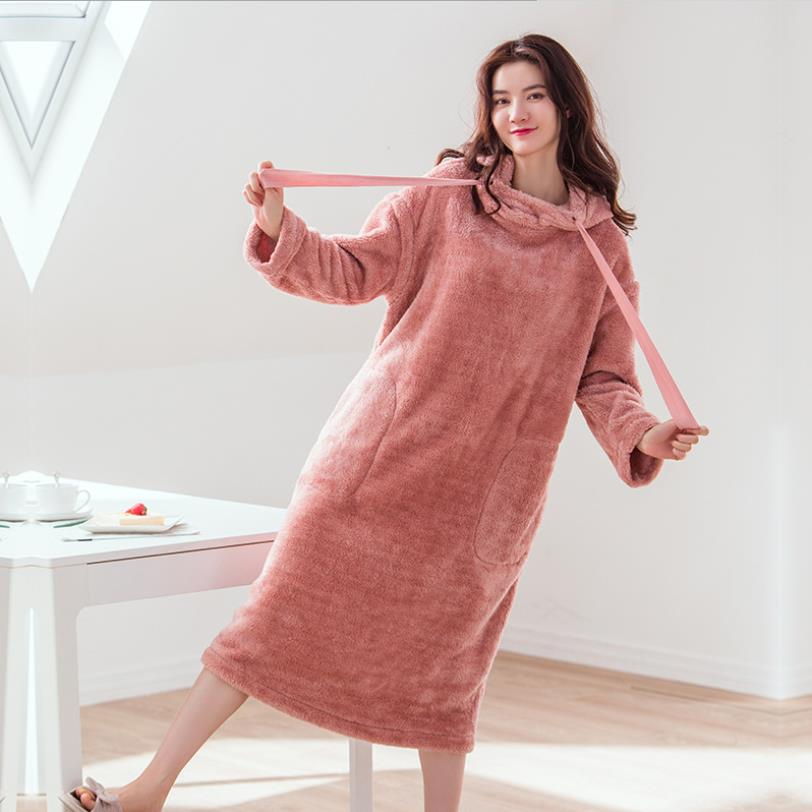 Korean Style Hooded Solid Thicken Flannel Nightgowns Female Long Sleeve Winter Warm Sleep Dress 2019 New Hoem Clothes Gx1532