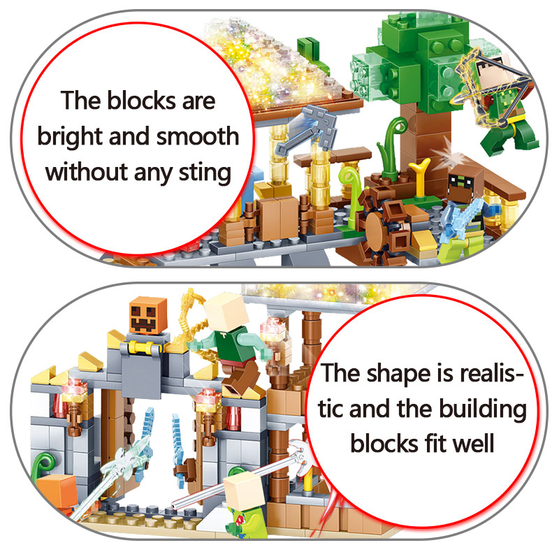My World Blocks 3D LED Light Farm Series Compatible LegoINGLYS Minecrafted  DIY Guard Educational Fun Toys For Children 5
