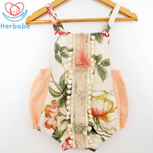 Herbabe New Fashion Baby Clothing Cotton Newborn Infant Sleeveless Romper Baby Girl Clothes Bebe Jumpsuit Summer Outfits Floral long sleeves baby boys infant jumpsuit summer baby clothing fashion gentleman bow triangle romper bebe newborn body baby clothes