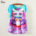 2015 new purple owl Hot Fashion Vintage T Shirts women 2014 Summer clothing Digital Print Girl Lady Women's Short style T-shirt