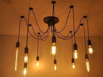 Edison Retro Spider Chandelier Lighting Ceiling Pendant 10 Lights 110-220V E27 ST64 G95 Led Crystal Living lamps