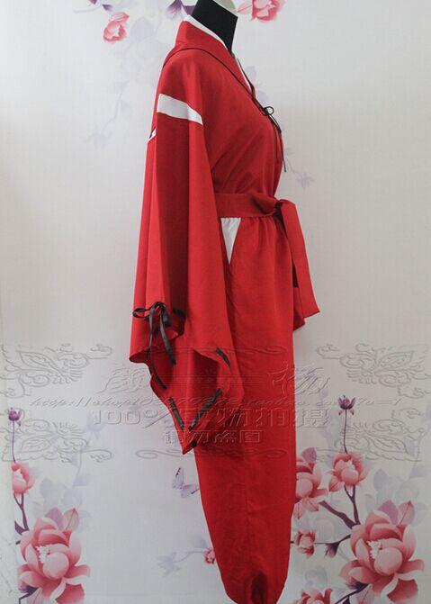 INUYASHA Bright Red Kimono Costume Cosplay Uniform Any Size