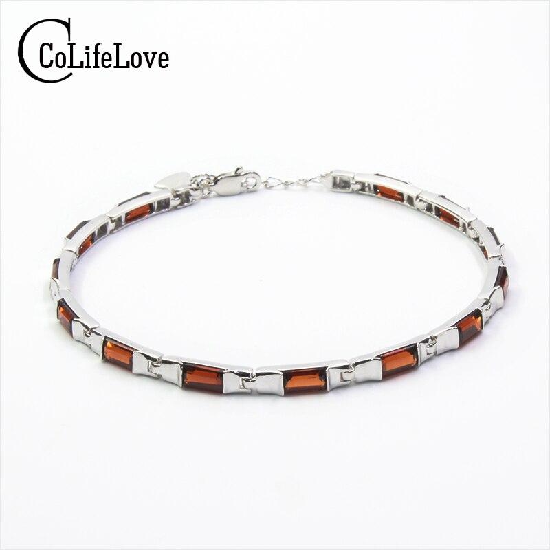Simple design silver gemstone bracelet 13 pcs natural wine red garnet bracelet solid 925 silver garnet