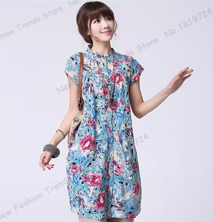 2015 Summer Plus Size Floral Mexican Shirt Dress Long Section Tunic