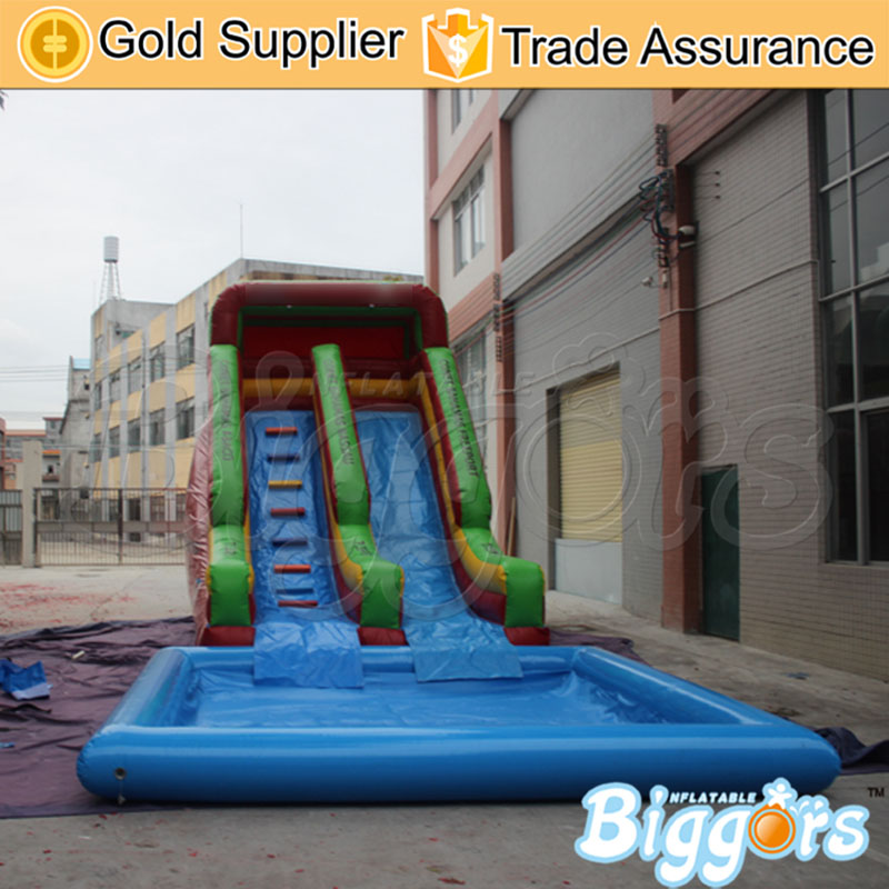 2018 Giant Inflatable Bouncy Slide With Pool Inflatable Water SlideFor Amusement Game factory price giant big inflatable water slide with pool game on sale