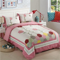 Floral Bedspread Pillow Cases Queen King Size Coverlet Set High Quality Bed Cover Pillow Cases