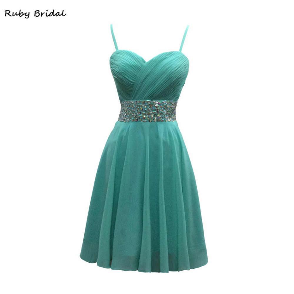 533a0ad320b8 Рубин Свадебные Vestidos De Fiesta Голубой шифон складки бисера платье для  выпускного вечера Роскошные строки Спагетти