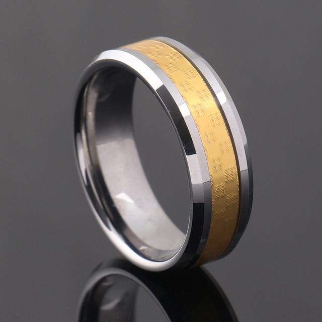 Mens Wedding Bands Tungsten Carbide 8mm Gold Carbon Fiber Inlayed Hi