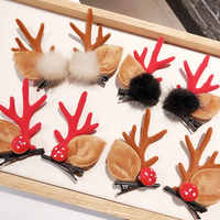 1 Pair Korea Fashion Christmas XMAS Cute Hair Clips Deer Antlers Mushroom Faux Fur Ball Girls Women Hairpins Hair Accessories