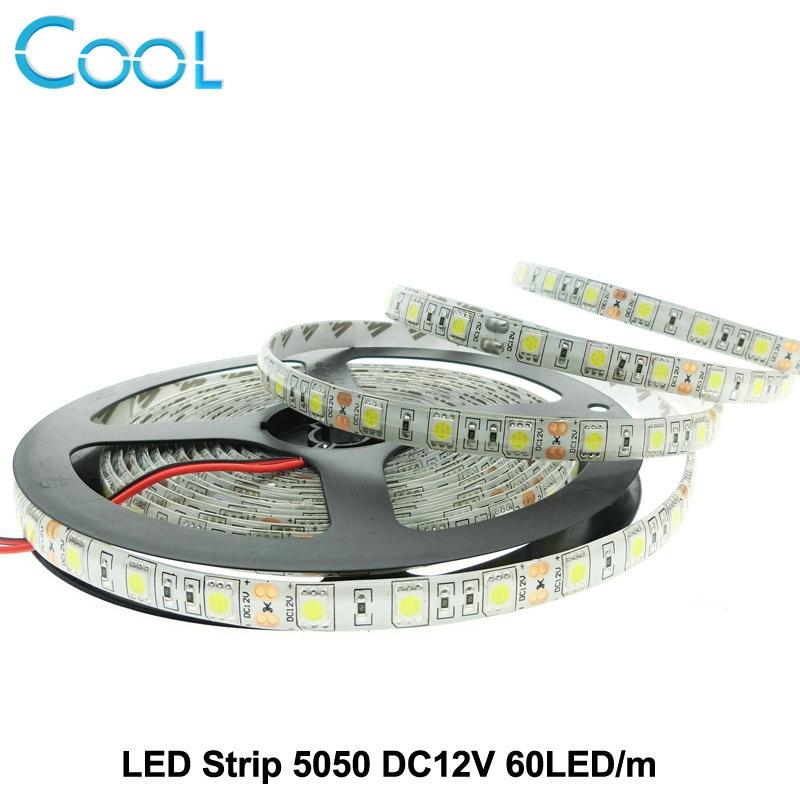 LED Strip 5050 DC12V Flexible LED Light 60LED m 5m Lot White Warm White Cold White
