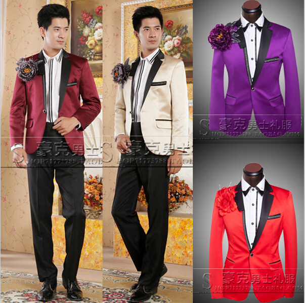 Men suit (Jacket Pants) Purple / Burgundy / beige and red PROM ...