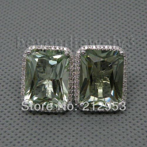 Hot !Solid 14Kt White Gold Green Amethyst Stud Earrings For Women,585 Gold Natural Amethyst Diamond Gemstone Stud Earring E0003 starry pattern gold plated alloy rhinestone stud earrings for women pink pair