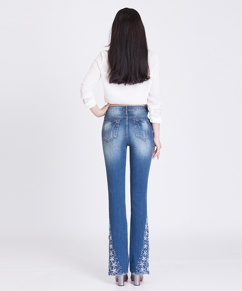 KSTUN FERZIGE New Jeans Woman Embroidered Trousers Lace Bell Bottoms Design Light Blue Stretch High Waisted Jeans Sexy Ladies Mujer 36 19