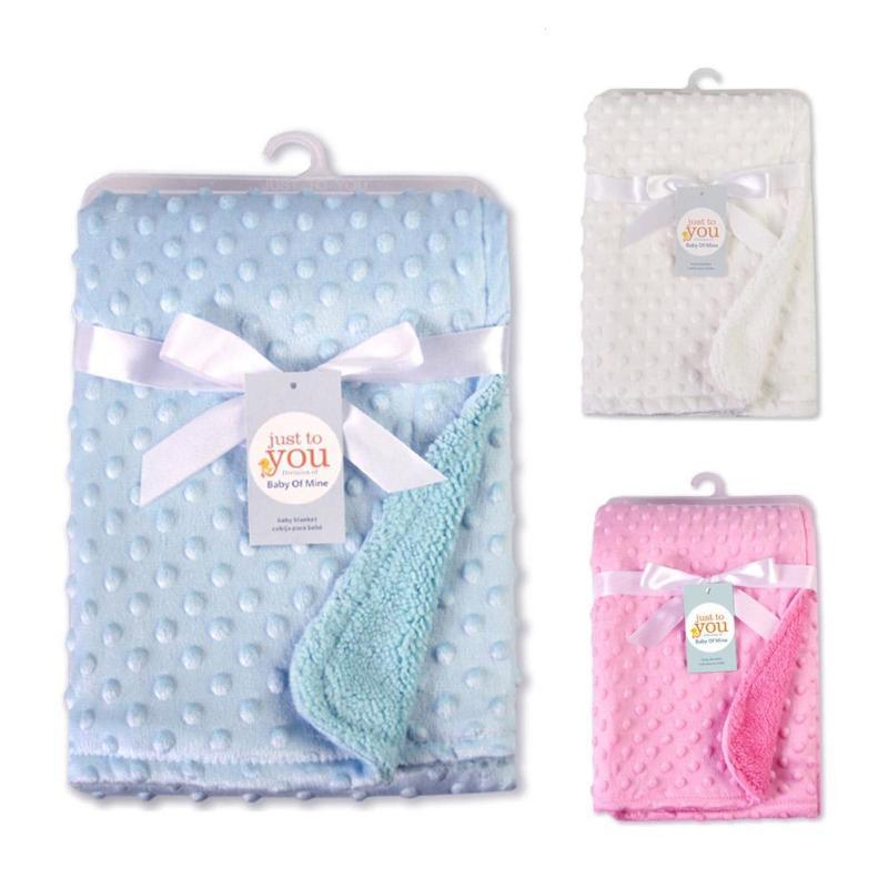 Plush Baby blankets thicken double layer fleece infant envelope stroller wrap for newborn wrap baby bedding blanket quilt R4