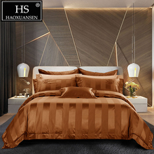 HS Luxury 140S Coffee Striped Crown Jacquard 4pcs Bedding Sets High Density 100% Cotton Bed Linen Set Queen King Size Bedclothes