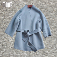 Designer sashes decor winter wool cashmere coat double-faced black blue woolen coats manteau femme abrigos mujer invierno LT964