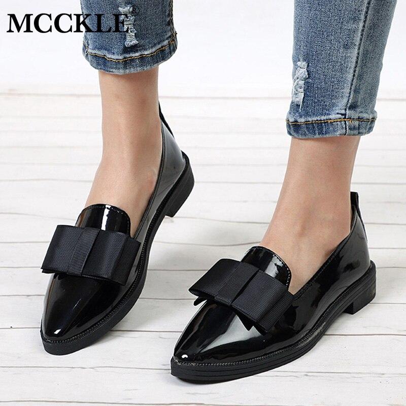 MCCKL Herbst Wohnungen Frauen Schuhe Bowtie Faulenzer Patent Leder Elegante Low Heels Slip Auf Schuhe Weiblichen Spitz Starke Ferse
