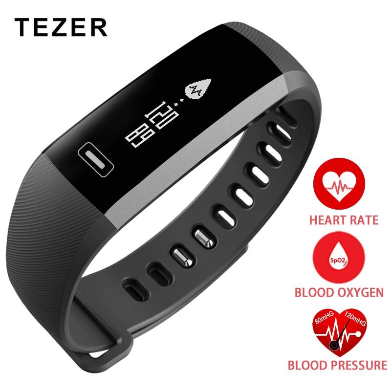 TEZER TOP font b Smart b font wrist Band Heart rate monitor Blood Pressure Oxygen Oximeter