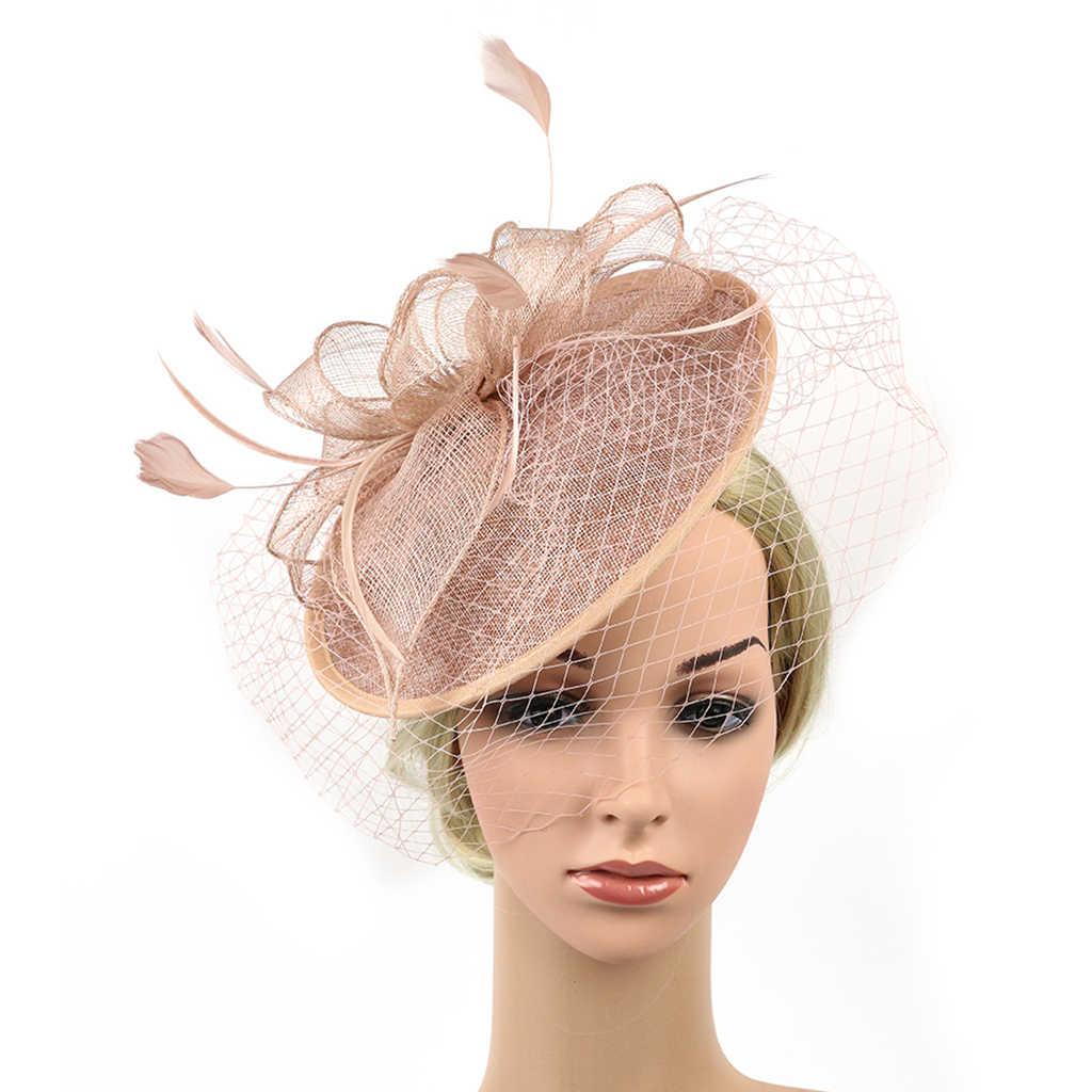 6ea6caec6 Elegant Women Ladies Sinamay Hat Feather Headband Clip Fascinator Veil  Wedding Party Royal Ascot Hair Accessories Headwear