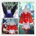 Hot Game LOL Zorro de Nueve Colas de Ahri Cosplay Costume set