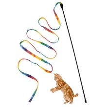 Cat Stick Toys Interesting Rainbow Stripe Plush Plastic Thin Rod Pet Supplies Interesting Gift for Kitten Cats, Random Color