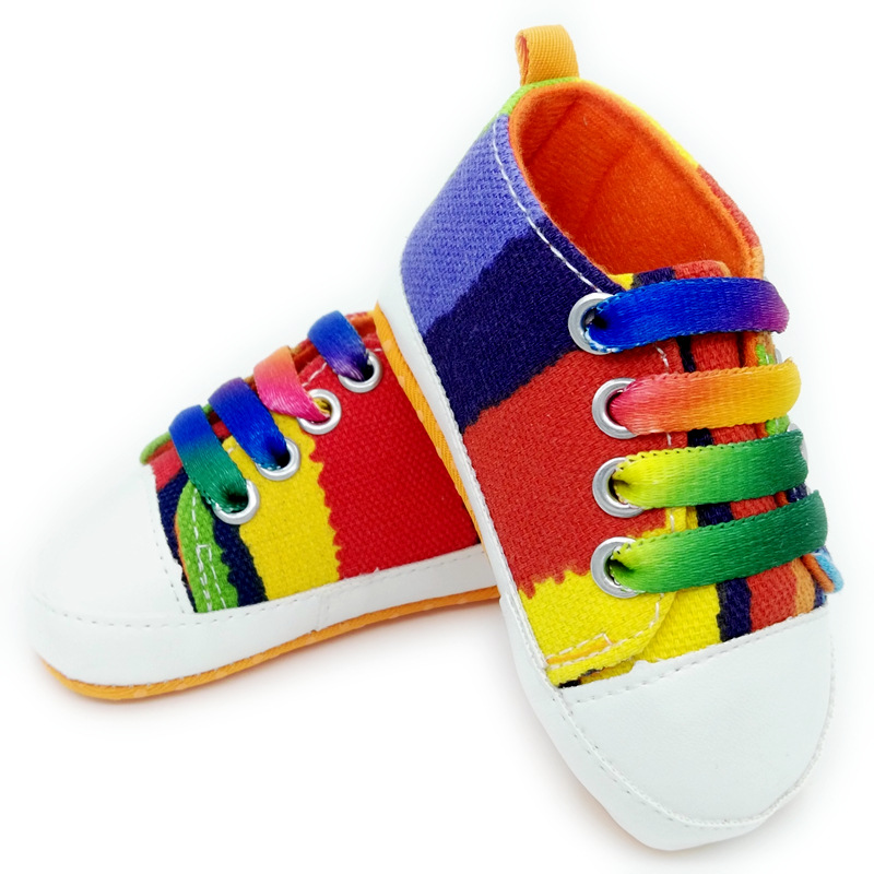 Hot sale baby shoes girls boys 2016 fashion rainbow canvas soft bottom baby shoes toddler shoes
