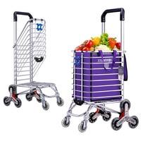 Foldable Aluminum Alloy Shopping Cart Portable Luggage Cart Storage basket Large Climbing Cart Supermarket Shopping Cart