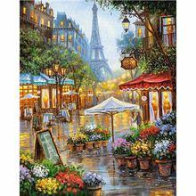 CHUNXIA в рамке DIY картина по номерам Парижский пейзаж Акриловая картина современного искусства домашний декор для гостиной 40x50 см RA3376