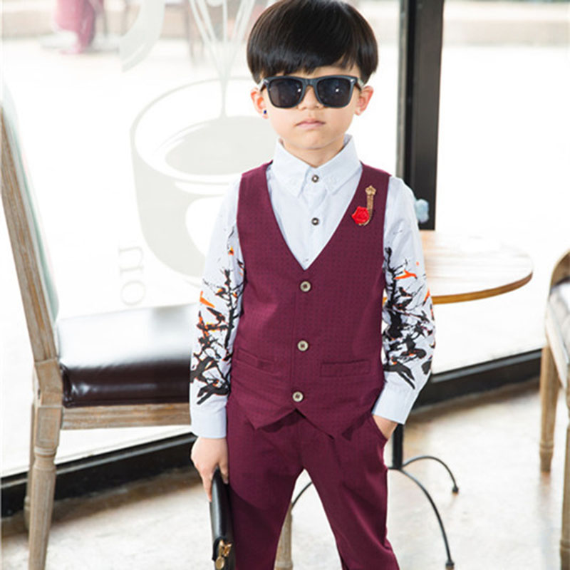 9301b9e966 2 3 4 5 6 8 Years Baby Boys Gentleman Clothing Sets Boy Small Dress Wedding  Birthday Party Clothes Vest & Pants 2 pcs Suit