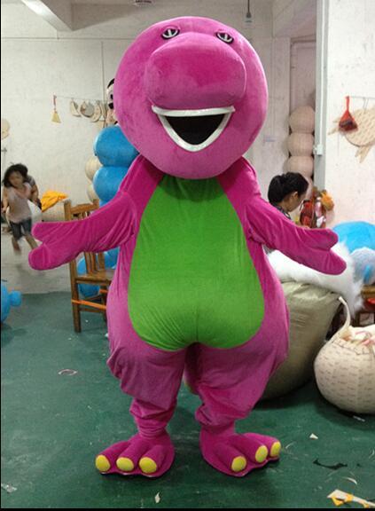 Высокое качество взрослых большой Барни мультфильм Маскоты костюмы на взрослых Размеры Бесплатная доставка